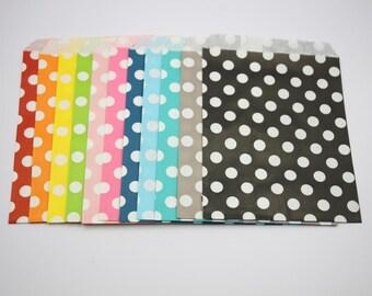 "100pcs 5""x7"" Polka Dots Paper Bags Rainbow Bags Wedding Favor Candy Bags Flat Party Decor"