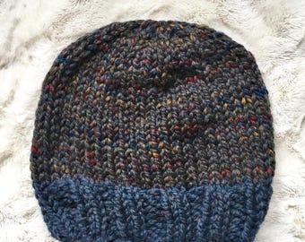 Adult Handknit Beanie // Knit Hat // Ski Hat