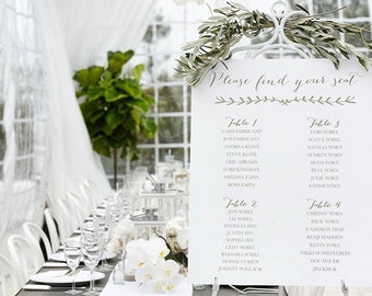 Custom Designed Wedding Wedding Seating Chart, Simple Elegant Seating Chart for your Special Event