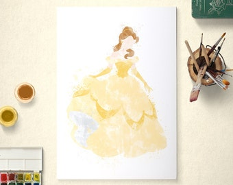 Belle, Disney Princess, Beauty and the Beast Poster, Watercolour Art, Printable Instant Download