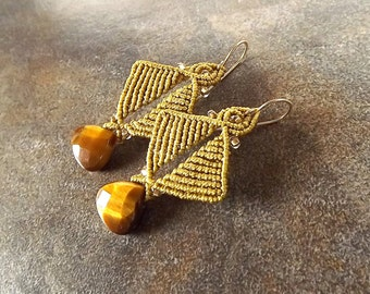 Macrame Earrings, Tiger Eye Earrings with Antique Gold Thread