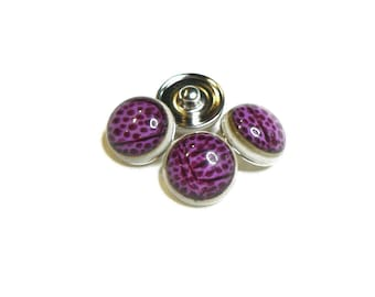 Snap - M - Metal Doublebeads - with synthetic Cabochon - Fuchsia/Burgundy and silver - BPSYM1815FUC076