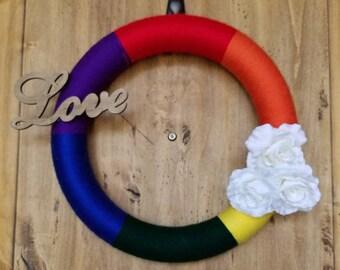 Rainbow Love Yarn Wreath, Custom Wreath, Wreath, Rainbow Decor, Gay Pride  Wreath