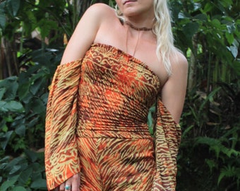 overall, jumpsuit, off shoulder, bell sleeves, Bandeau, sexy overall, orange tie dye, hippie style, boho style, safari style, short Jumpsuit