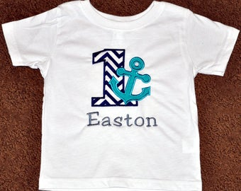 Personalized Nautical Anchor Birthday Boy Outfit - Navy and Turquoise Sailor Theme First Birthday Body Suit or Shirt, Cake Smash Ideas