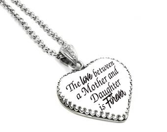 Personalized Heart Pendant, Custom Heart Necklace, Personalized Quote Necklace, Custom Quote Pendant