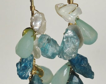 rough apatite, keishi pearl, and chalcedony earrings