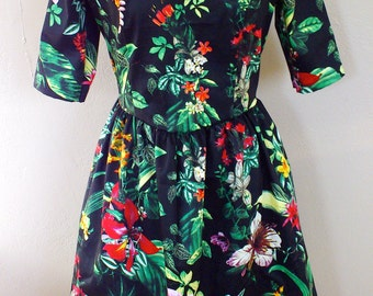 MADE TO ORDER/ Green Floral Print Gathered Dress in Black/ Party Dress/ Garden Party/ Cotton