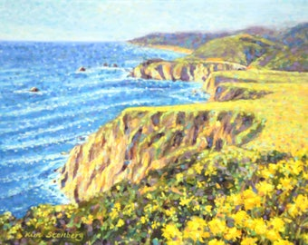 Big Sur California Coast Painting Original Oil Impressionist Lanscape Ready to Hang Wall Art Unique Gift  By Kim Stenberg