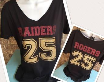 Custom Football Shirt- Mascot Name and Number- Front AND back, Football Girlfriend shirt - Football Mom shirt