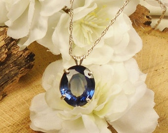 Certified Royal Blue Sapphire September Birthstone Necklace, Sterling Silver, 9.80 Ct 13.64 x 11.44 mm Natural Blue Sapphire