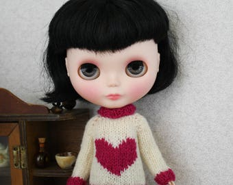 Blythe doll Big Love Sweater knitting PATTERN - cute pullover style heart sweater - instant download - permission to sell finished items