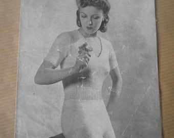 1940's vest and knickers set knitting pattern, Weldons leaflet no 513, vintage underwear pattern