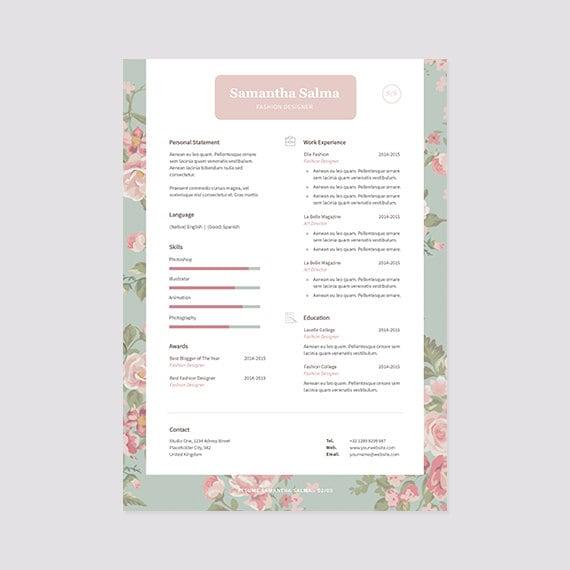 Flores curriculum vitae plantilla descarga inmediata carta