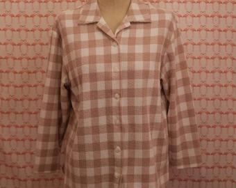 Vintage Pink & White Flannel