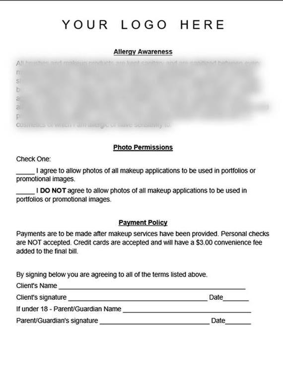 Professional Makeup Artist Liability Waiver Form Instant