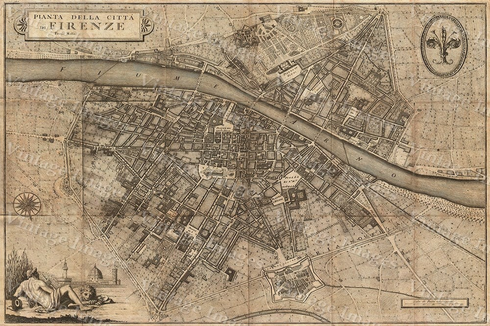 Old map of florence italy 1847 florence map up to 42x56 zoom gumiabroncs Choice Image