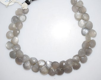 "105 Ct.Gray Moonstone Faceted Heart Shape Briolette , 8"" Strand - Grey Moonstone Faceted Heart Beads , 8x8 - 9x9 mm , BL438"