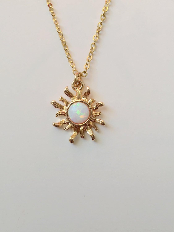 gold pear white opal pendant shaped image