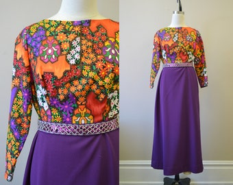 1970s Purple Floral Maxi Dress