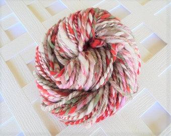 CHERRY BLOSSOMS Handspun Yarn, Thick and Thin 2-ply yarn, super bulky yarn, soft merino yarn, mulberry silk, muga silk, polwarth wool yarn