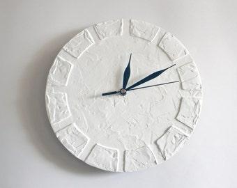WHITE Clock Modern WALL CLOCK, White wall clock, white home decor, modern office decor, wedding gift, housewarming gift, minimalist decor