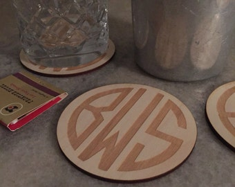 Monogram wood coasters Set of 4 - personalized monogrammed coaster - laser engraved initials - great gift