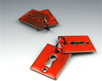 Enameled Key Hole  / Orient Red Enamel / Made to order