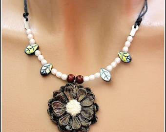 Black and White Flower necklace Chrysanthemum