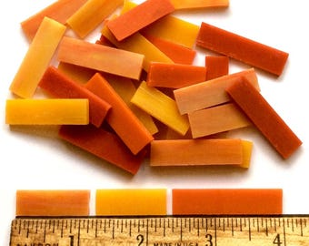 Orange Melon Mix Tiffany Crystal Stained Glass BORDER Tiles//Mosaic Supplies//Craft Supplies