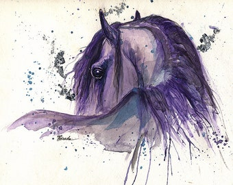Portrait of a friesian horse, original pen and watercolour painting