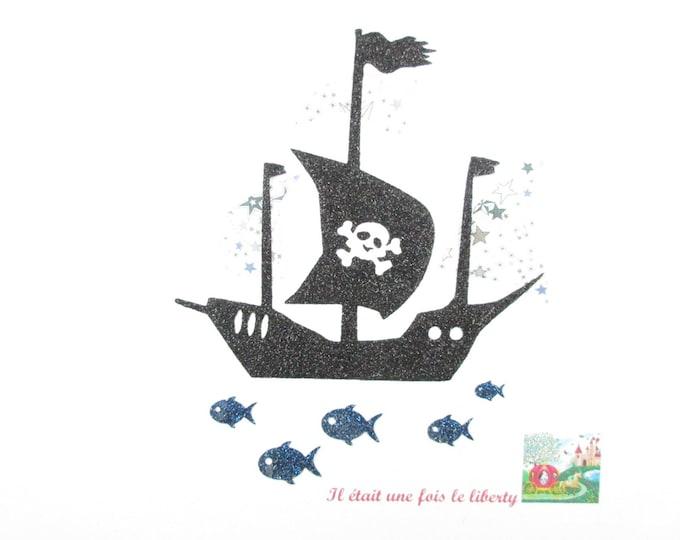Applied pirate boat fusing fabric liberty Adelajda fabric and grey iridescent black slip heat-sealed pirate iron on patch