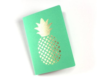 stationery, notebook, journal, diary, book, booklet, papergoods, paper, office supplies, blank book - Notebook - pineapple (customizable)