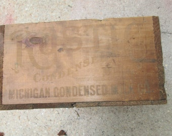 Antique wooden rustic condensed milk box Michigan Condensed Milk Co.