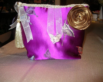 Purple and Gold Butterfly Lingerie Bag