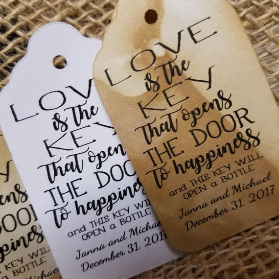 Love is the Key that Opens the Door to Happiness bottle opener favor tag MEDIUM Tags Personalize with names and date