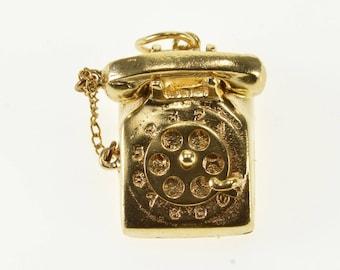 14k Rotary Dial 3D Ornate Telephone Charm/Pendant Gold