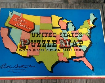 Vintage Parker Brothers Inc. United States U.S. Puzzle Map Wooden Pieces Complete with Original Box
