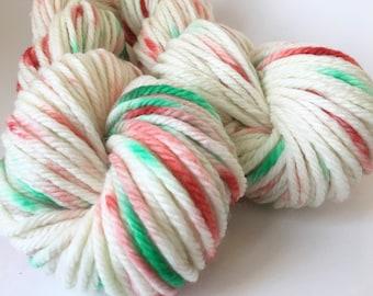 Hand Dyed Yarn, Bulky, Superwash Merino, Wool, Peppermint Stick