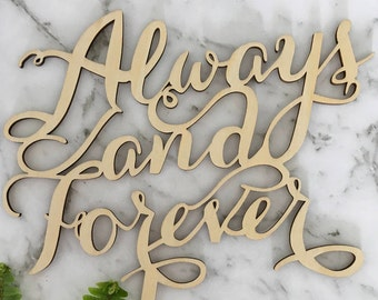 Always and Forever Rustic Wood Wedding Cake Topper