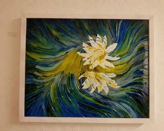Blue and White Flower Painting/Glass Art/ Hanging Art/ Framed Art/ Framed Painting/ Colourful Painting