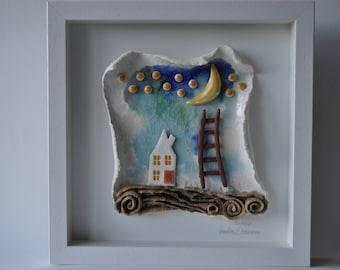 the cottage for dreamers, modern Ceramic and Glass wallart, handmade in Ireland