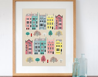 London Row Houses Pastel Art Print