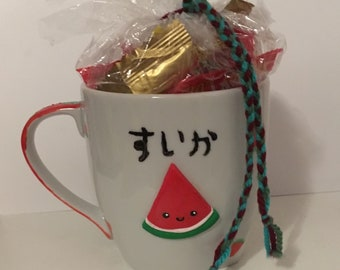 Kawaii Watermelon Mug filled with candy
