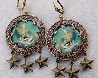 Moon Star earrings, Celestial earrings, boho earrings, gypsy earrings, Pre Raphaelite earrings, mint green, star earrings, aqua,  gift her