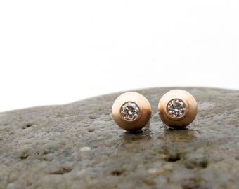 Rose gold and diamond earrings, petite diamond studs, pink gold and diamond post earrings, bezel set diamond stud earrings