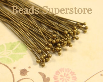 2 Inch (50 mm) Antique Brass Ball End Head Pin - Nickel Free and Lead Free - 100 pcs (BP2AB)