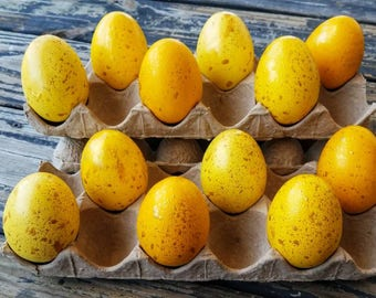 Decorative Easter Eggs, Artifical Easter Eggs, Gold Speckled Eggs, Yellow Ombre Eggs