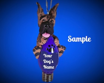 Brindle Great Dane dog cropped ears Christmas Holidays Light Bulb Ornament Sally's Bits of Clay PERSONALIZED FREE with dog's name