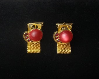 1950's Red Rhinestone Watermelon Lucite Cabochon Vintage Gold Metal Mesh Men's Mid Century Cuff Links Dads Gift For Him on Etsy